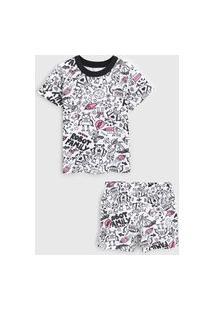 Pijama Marisol Curto Infantil Foguete Branco/Preto
