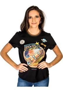 Camiseta Estampada Aplicação Colcci - Feminino-Preto