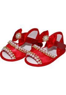 Sandália Pérolas Sapatinhos Baby Vermelha