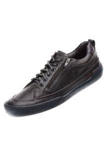 Sapato Em Couro Hayabusa Z 10 Café Solado Preto