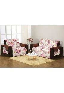 Protetor Sofa Estampado 3 E 2 Lugares Rose/Tabaco Enxovais Aquarela