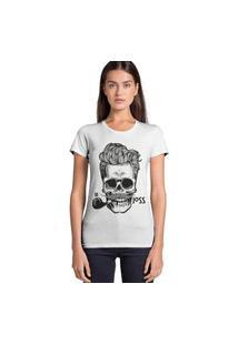 Camiseta Basica Joss Caveira Charuto Branco