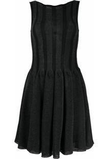 Emporio Armani Vestido De Tricô Com Pregas - Preto
