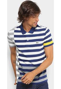 cfbdf9ccc6c9a Camisa Polo Lacoste Piquet Recorte Listras Striped Masculina - Masculino