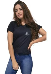 Camiseta Feminina Gola V Cellos Royal Band Premium Preto
