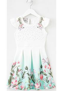 Vestido Infantil Texturizada Estampa Floral - Tam 5 A 14 Anos