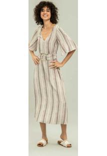 Vestido Com Cinto Estampa Raw - Lez A Lez