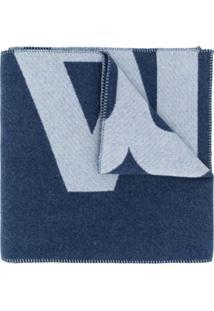 Isabel Marant Cachecol De Tricô Com Estampa De Logo - Azul