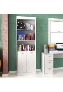 Estante Para Livros 60 Cm 2 Portas Branco Tx/Branco Tx - Hecol