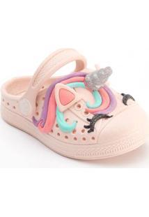 Babuche Plugt Infantil Joy Unicórnio 3D Feminino - Feminino-Rosa