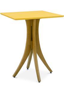 Mesa Para Jantar Pequena Quadrada Juliette 60X60X77Cm Amêndoa E Amarelo