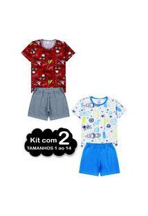 Kit 2 Pijama Verão Juvenil 1 Ao 14 Algodão Masculino - Manga Curta Multicolorido