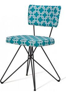 Cadeira Pop Retro Estampa Rolls Azul Base Estrela Preta - 49587 - Sun House
