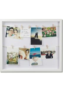 Porta-Retrato Varal Flip Retangular Branco 58 Cm