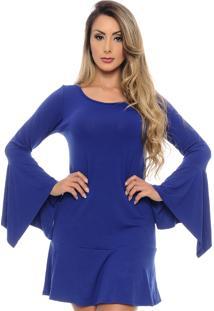 Vestido Curto B Bonnie Manga Flare Flora Azul Royal