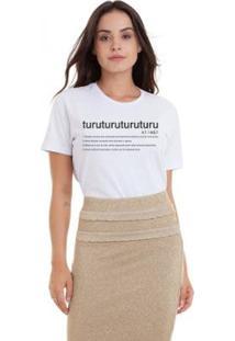 Camiseta Joss Estonada Estampada Turu Turu Dicionário Feminina - Feminino-Branco