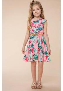 Vestido Rosa Babados Com Cinto Menina Carinhoso