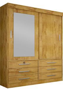 Guarda-Roupa Solteiro Com Espelho 2 Portas Sonare- Novo Horizonte - Freijo Dourado