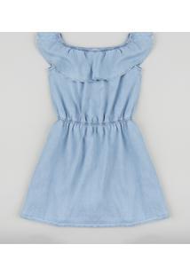Vestido Jeans Infantil Ciganinha Azul Claro