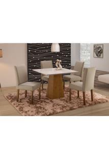 Conjunto De Mesa De Jantar Com 4 Cadeiras E Tampo De Madeira Maciça Turquia I Suede Marrom Médio E Off White