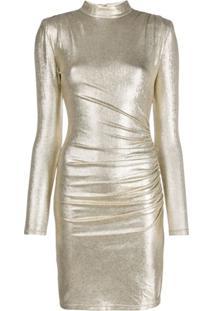 Alice+Olivia Vestido Franzido Metálico - Dourado
