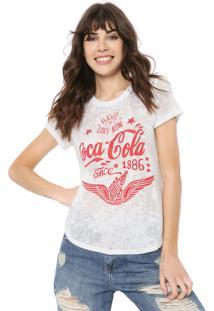 Camiseta Coca-Cola Jeans Devorê Branca