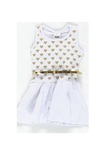 Vestido Regata Branco Cinto Dourado Duzizo