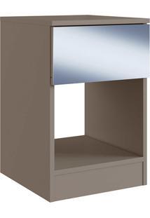Mesa De Cabeceira Com Espelho Turin/Grigio Genialflex Móveis
