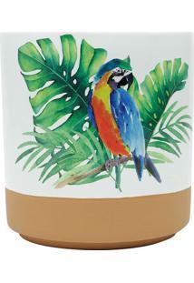 Vaso Em Cerã¢Mica Parrot Grande- Branco & Marrom Claro