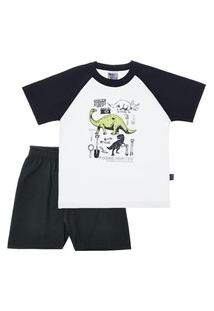 Pijama Branco - Infantil Menino Meia Malha 42755-3 Pijama Branco - Infantil Menino Meia Malha Ref:42755-3-10