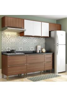 Cozinha Completa Multimóveis Com 6 Peças Calábria 5456 Nogueira/Branco