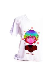 Camiseta Branca Prorider Bad Rose Personagem Autoral Nanami Nem Sih